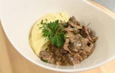 Тыквенный суп. Куриная печень с грибами
