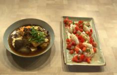 Кальмары с соусом из йогурта и тхины и сальсой из свежих томатов. Филе семги с грибным консоме. Нежная полента с пармезаном