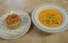 Яйца-пашот. Крем-суп из чечевицы и рулет из телятины по-деревенски. Салат «Вольтер» и шашлычки из лосося с бланшированной спаржей