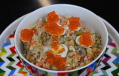 Салат Оливье с копченой скумбрией. Запеканка с морепродуктами