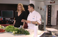 Сибас с жареными овощами на гарнир
