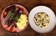 Говяжья грудинка с черносливом, портвейном и картофельным пюре. Салат из чернослива с бужениной
