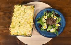 Запеканка Оливье. Салат с говядиной, авокадо и свеклой