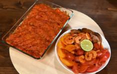 Рыба под маринадом. Салат с креветками