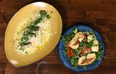 Курица гедлибже с пастой из пшена. Салат с жареным адыгейским сыром